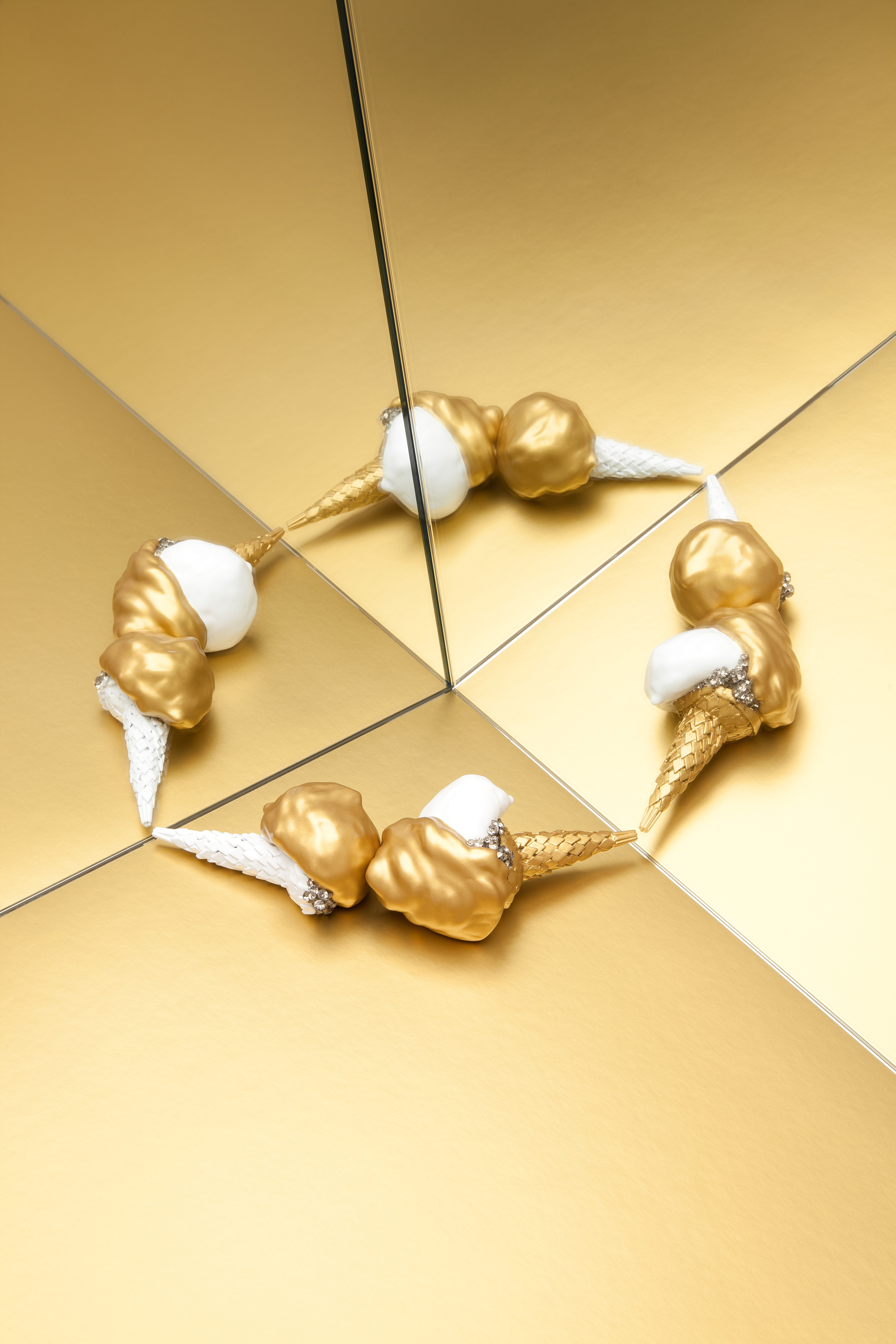 gold and white ice cream brooches