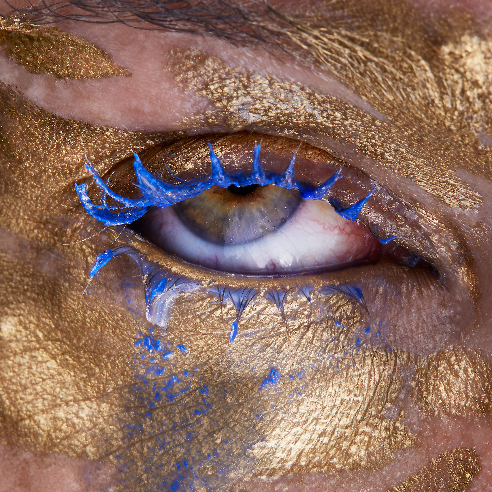 Float Records artwork eye gold and blue makeup